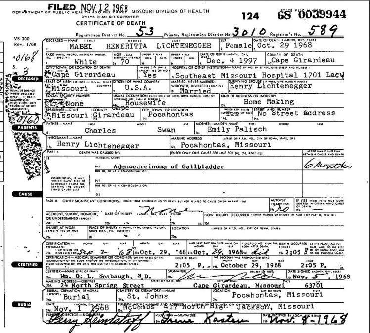 Mabel Lichtenegger death certificate