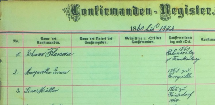 Margaretha Crum confirmation record Salem Farrar MO
