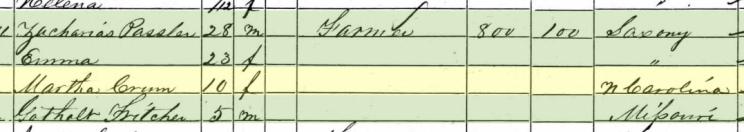Martha Crum 1860 census Cinque Hommes Township MO