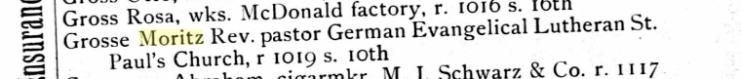 Moritz Grosse 1889 St. Joseph MO city directory
