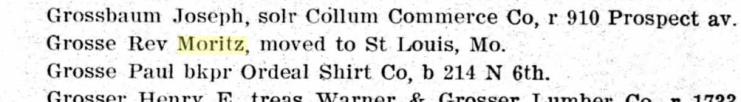 Moritz Grosse 1907 St. Joseph MO city directory