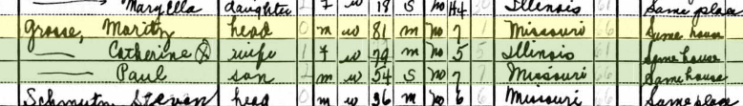 Moritz Grosse 1940 census St. Louis MO