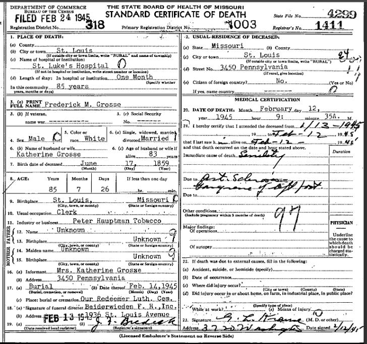 Moritz Grosse death certificate