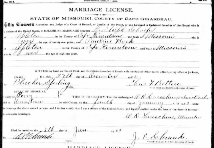 Schaefer Bock marriage license
