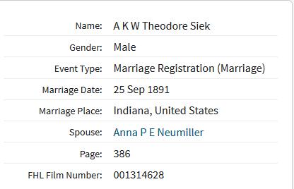 Siek Neumueller marriage record Indiana