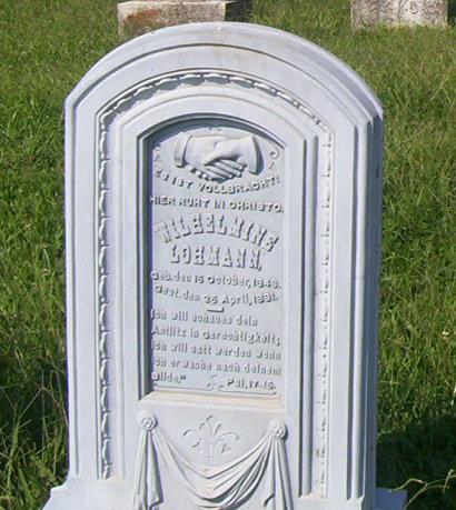 Wilhelmina Bock Lohmann gravestone Trinity Altenburg MO