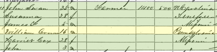 William Crum 1860 census Brazeau Township MO