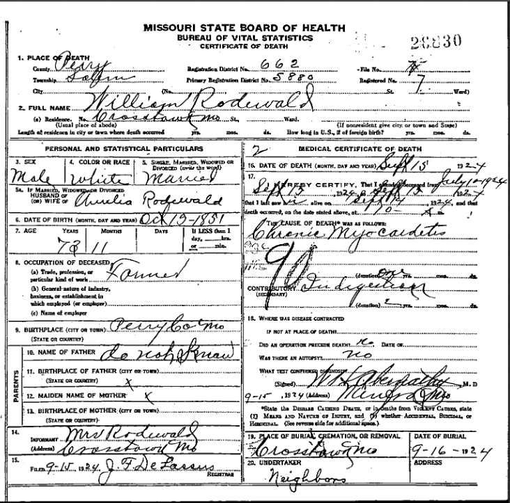 William Rodewald death certificate