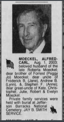 Alfred Moeckel obituary