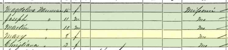 Amalia Naumann 1860 census Brazeau Township MO