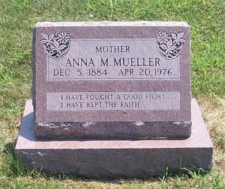 Anna Mueller gravestone Block Trinity Paola KS