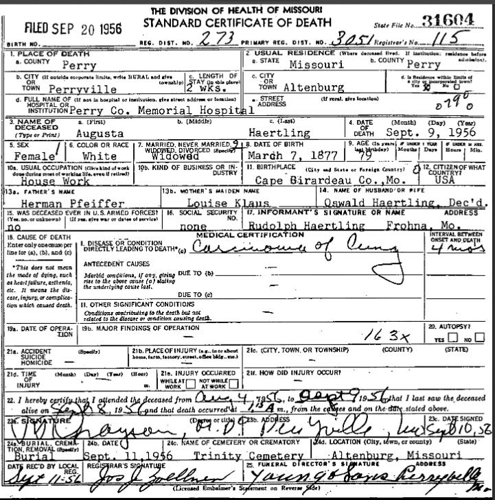 Augusta Haertling death certificate