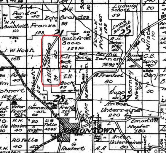 B H Brandes land map 1915