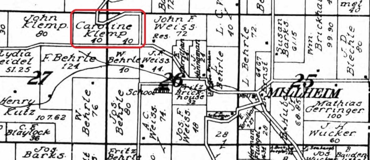Caroline Klemp land map 1915