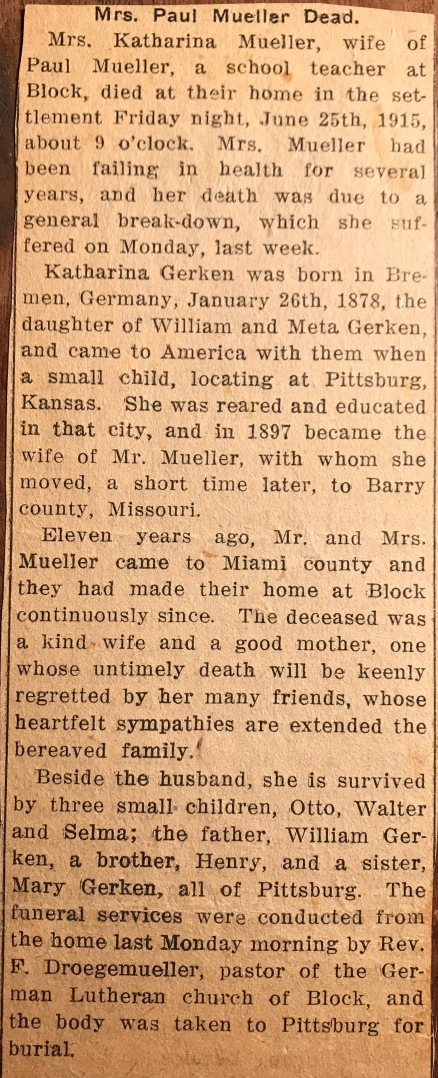 Catharine Mueller obituary