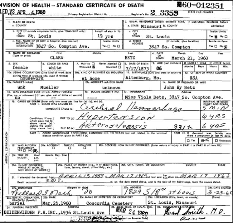 Clara Betz death certificate