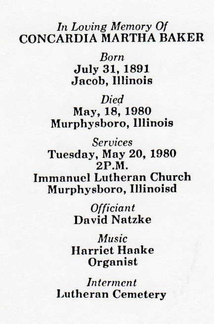 Concordia Baker funeral notice