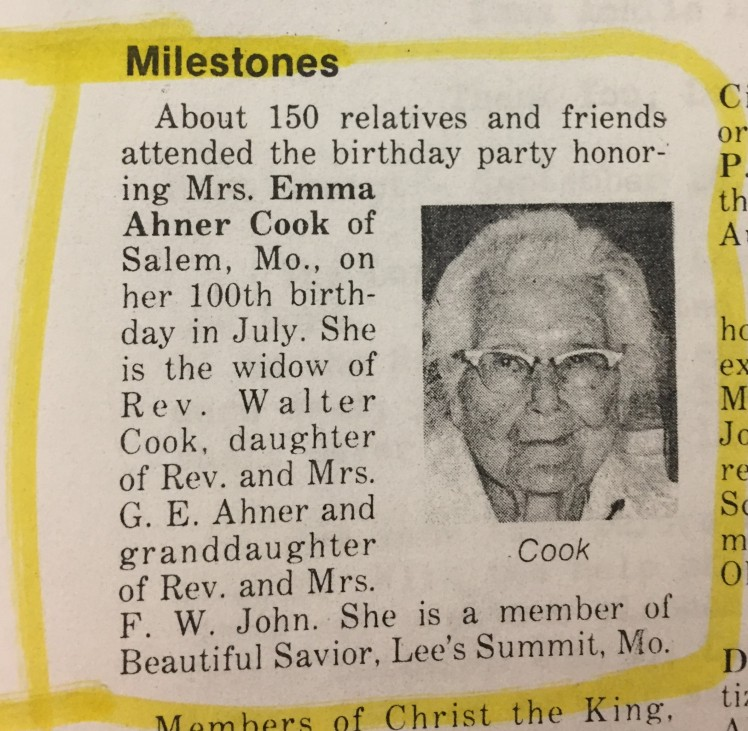 Emma Cook 100th birthday party article