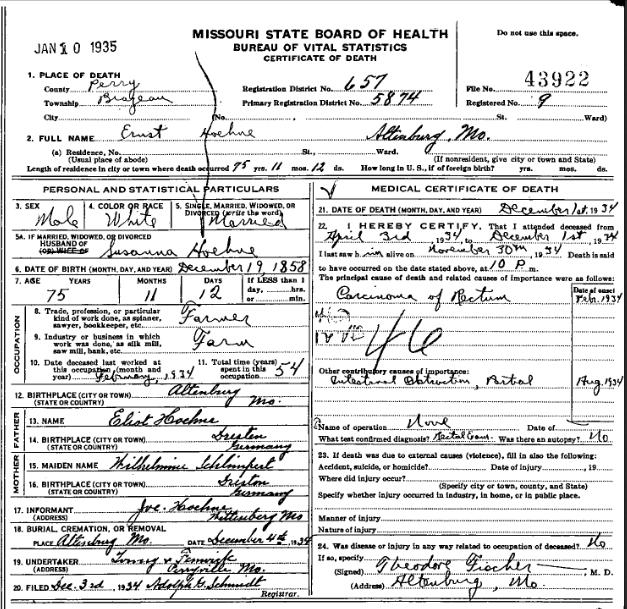 Ernst Hoehne death certificate