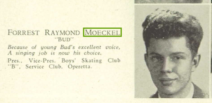 Forest Raymond Moeckel yearbook photo
