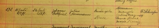Gottfried Hemmann baptism record Salem Farrar MO