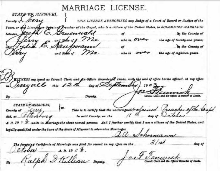 Gruenwald Kaufmann marriage license