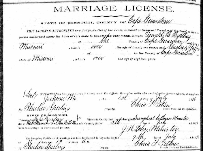 Haertling Pfeifer marriage license