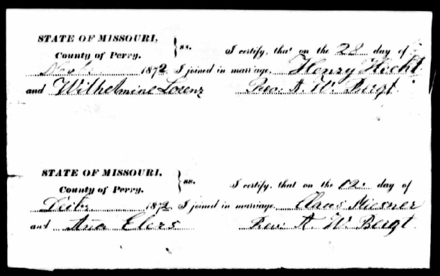 Hecht Lorenz Missouri marriage record