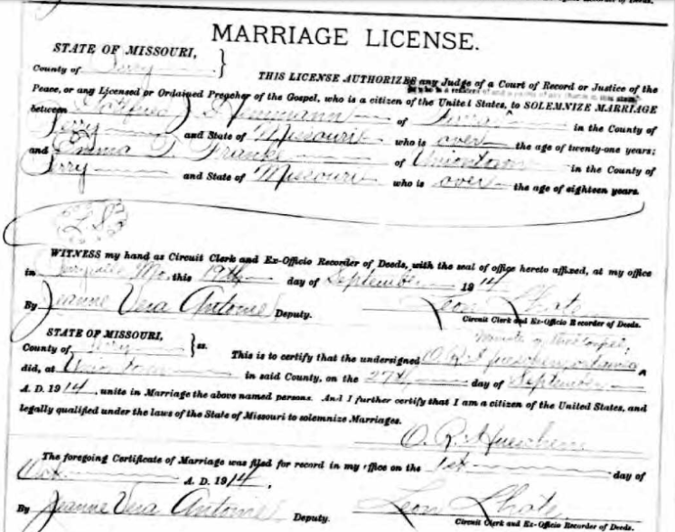 Hemmann Franke marriage license