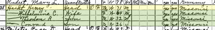 Henry Hecht 1920 census Union Township MO
