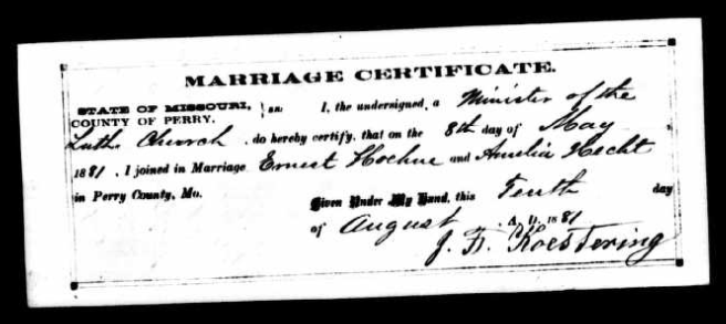 Hoehne Hecht marriage record Perry County MO
