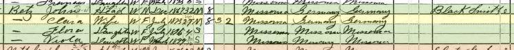 John Henry Betz 1900 census St. Louis MO