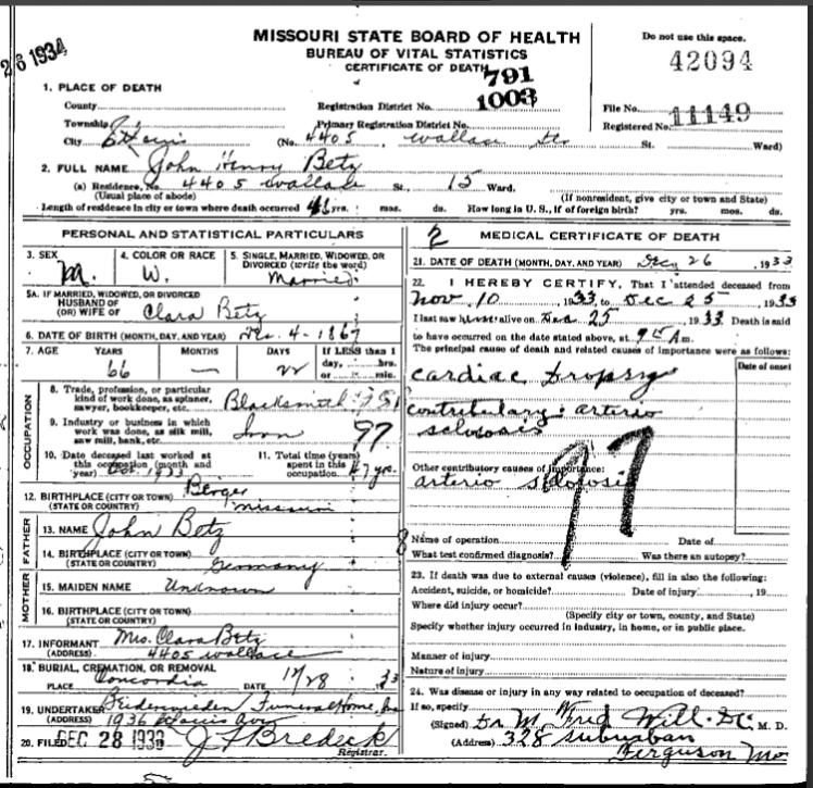 John Henry Betz death certificate