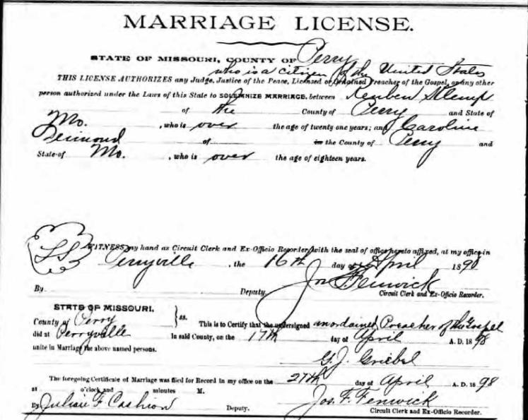 Klemp Deimund marriage license