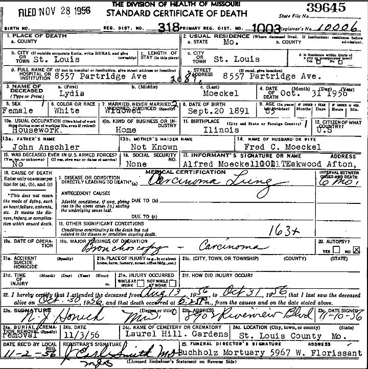 Lydia Moeckel death certificate