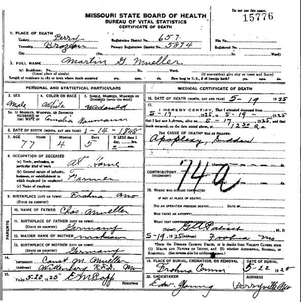 Martin G. Mueller death certificate