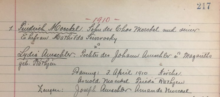 Moeckel Amschler marriage record Christ Jacob IL