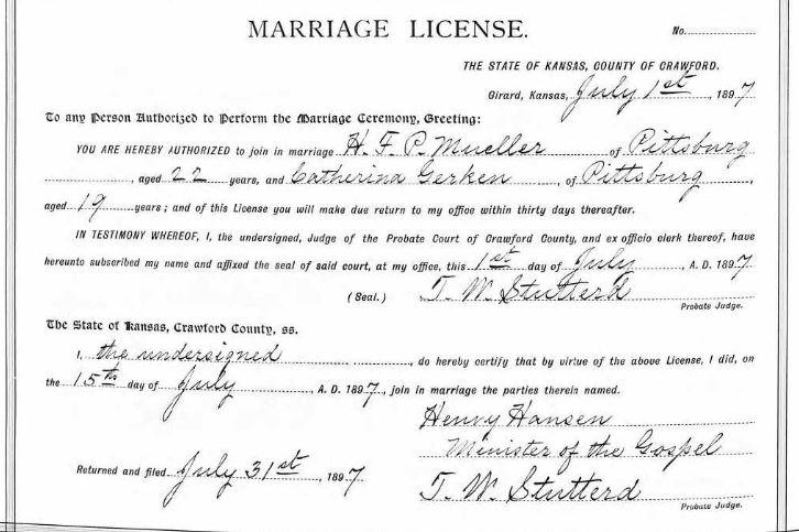 Mueller Gerken marriage license