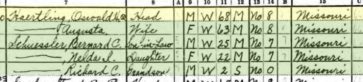Oswald Haertling 1940 census Altenburg MO