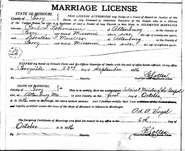 Paul Lohmann Dorothy Mueller marriage license