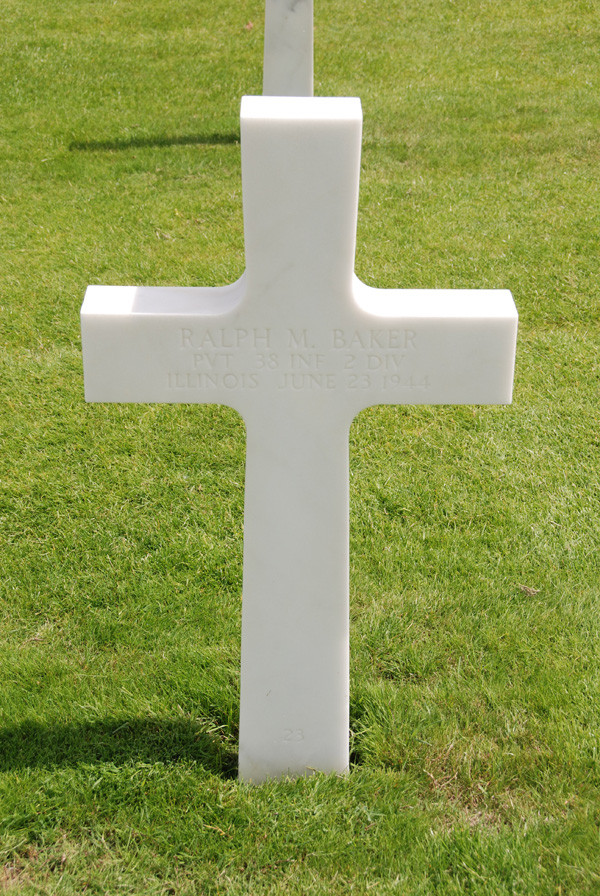 Ralph Baker gravestone Normandy American Cemetery France