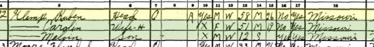 Ruben Klemp 1930 census Cinque Homme Township MO