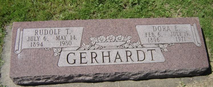 Rudolph and Dora Gerhardt gravestone Bethlehem Sylvan Grove KS