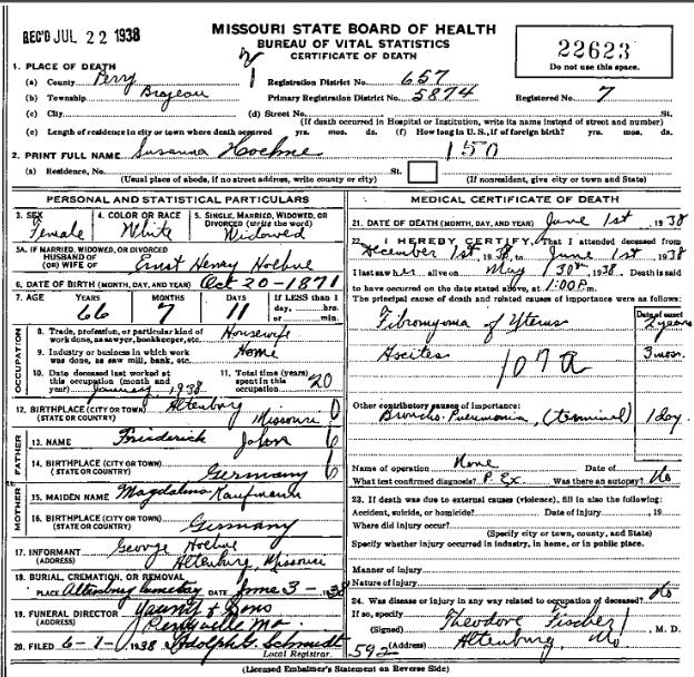 Susanna Hoehne death certificate