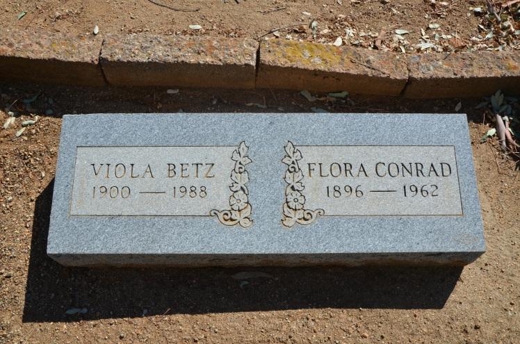 Viola Betz and Flora Conrad gravestone Alpine San Diego CA