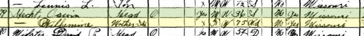 Wilhelmine Hecht 1930 census Union Township MO