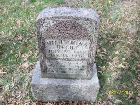 Wilhelmine Hecht gravestone Grace Uniontown MO