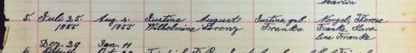 Wilhelmine Lorenz baptism record Salem Farrar MO