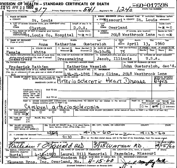 Anna Guetersloh death certificate