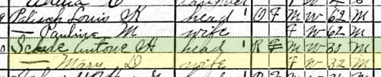 Anton Schade 1920 census Brazeau Township MO